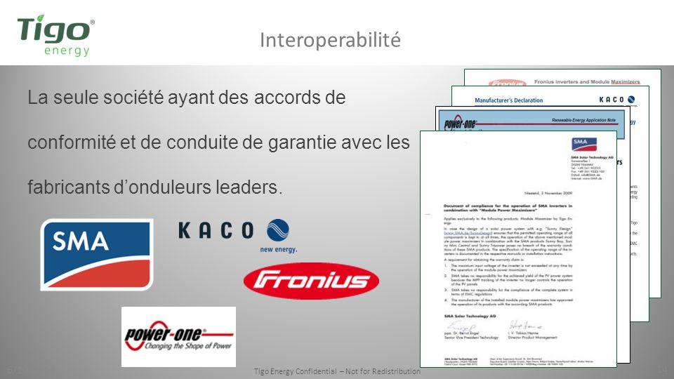 6/10/2014 Tigo Energy Confidential – Not for Redistribution 14 La seule société ayant des accords de conformité et de conduite de garantie avec les fa