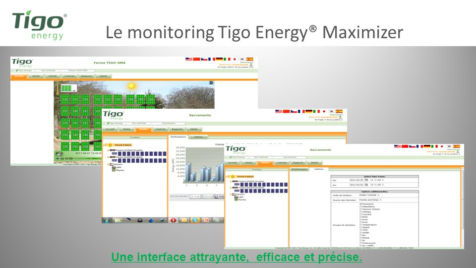 Le monitoring Tigo Energy® Maximizer Une interface attrayante, efficace et précise.