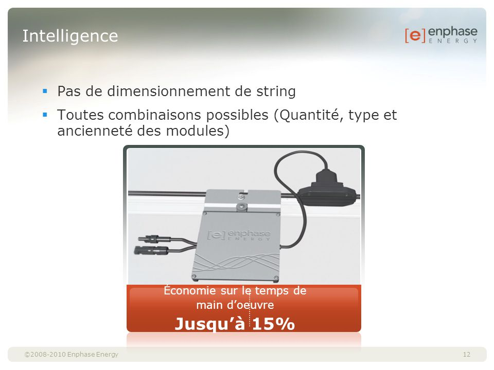 ©2008-2010 Enphase Energy Intelligence Pas de dimensionnement de string Toutes combinaisons possibles (Quantité, type et ancienneté des modules) 12 Éc