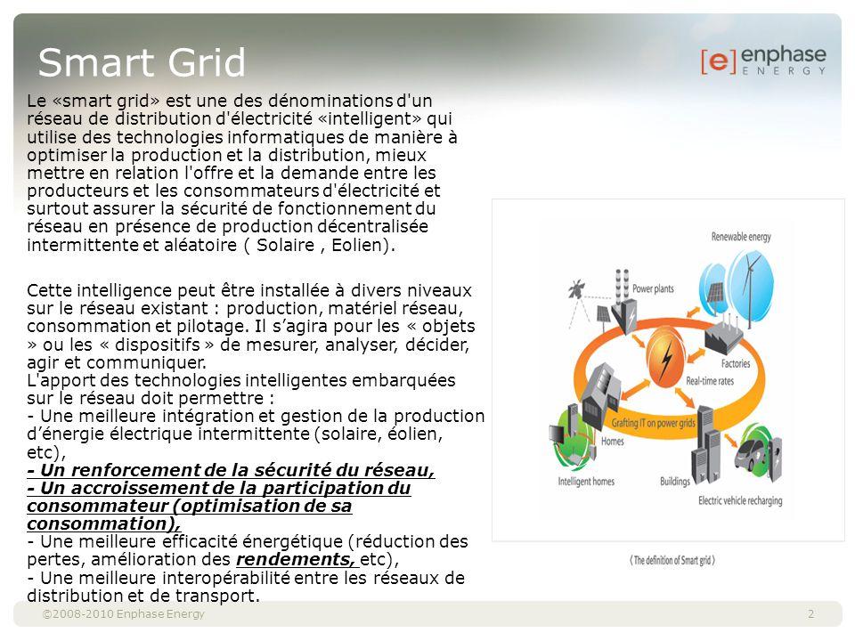 ©2008-2010 Enphase Energy Smart Grid 2 Le «smart grid» est une des dénominations d'un réseau de distribution d'électricité «intelligent» qui utilise d