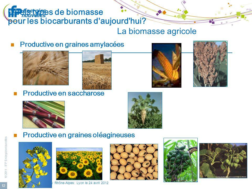 © 2011 - IFP Energies nouvelles 24eme Cleantuesday Rhône-Alpes: Lyon le 24 avril 2012 12 Quels types de biomasse pour les biocarburants d'aujourd'hui?