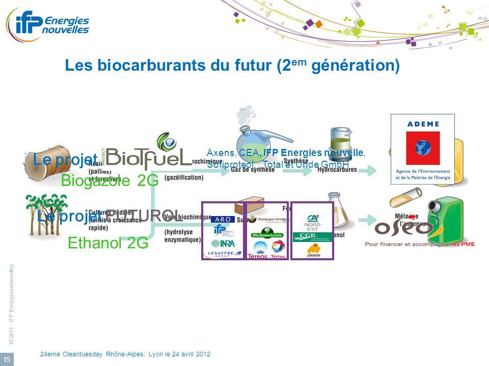© 2011 - IFP Energies nouvelles 24eme Cleantuesday Rhône-Alpes: Lyon le 24 avril 2012 15 Les biocarburants du futur (2 em génération) Le projet FUTURO