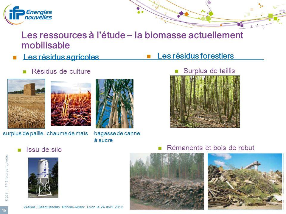 © 2011 - IFP Energies nouvelles 24eme Cleantuesday Rhône-Alpes: Lyon le 24 avril 2012 16 Les résidus agricoles Les résidus forestiers Rémanents et boi