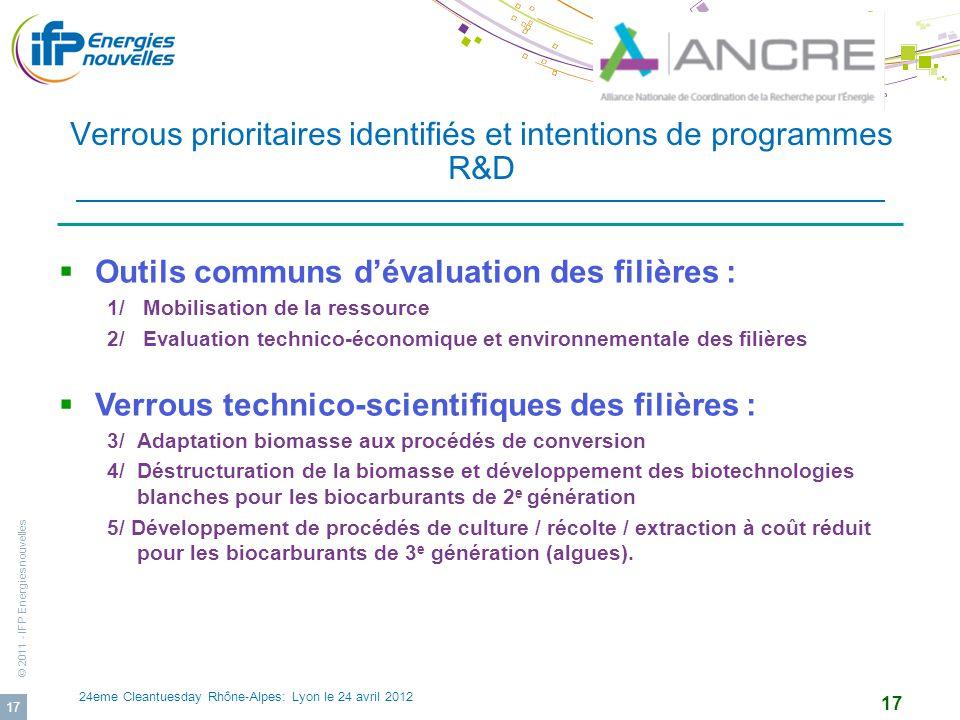 © 2011 - IFP Energies nouvelles 24eme Cleantuesday Rhône-Alpes: Lyon le 24 avril 2012 17 Verrous prioritaires identifiés et intentions de programmes R