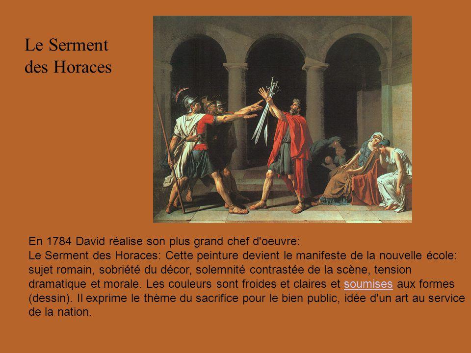 Le Serment des Horaces En 1784 David réalise son plus grand chef d'oeuvre: Le Serment des Horaces: Cette peinture devient le manifeste de la nouvelle