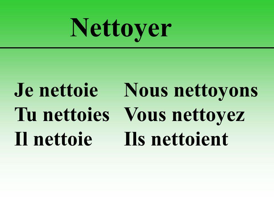 Nettoyer Je nettoieNous nettoyons Tu nettoiesVous nettoyez Il nettoieIls nettoient