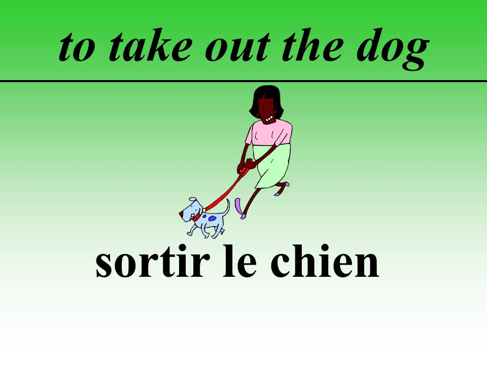 to take out the dog sortir le chien