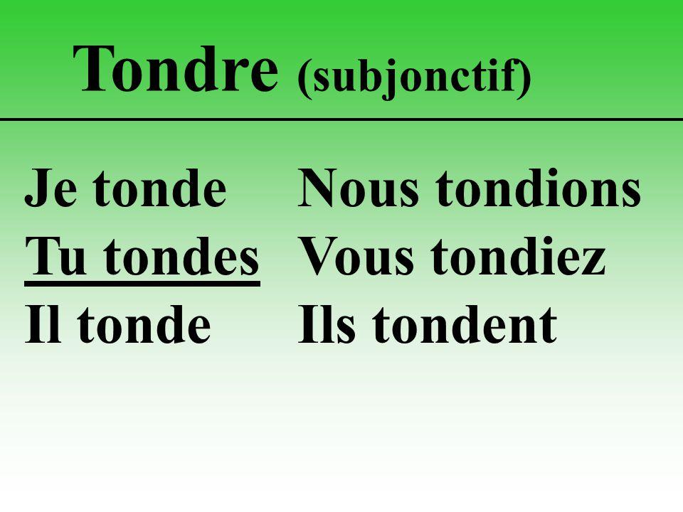 Tondre (subjonctif) Je tondeNous tondions Tu tondesVous tondiez Il tondeIls tondent