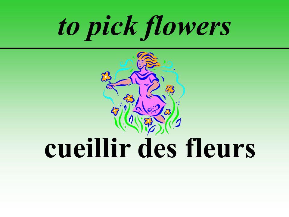 to pick flowers cueillir des fleurs