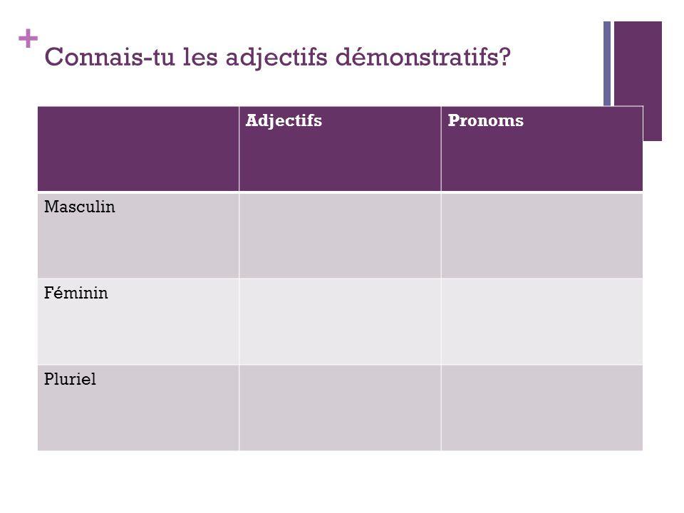 + Connais-tu les adjectifs démonstratifs? AdjectifsPronoms Masculin Féminin Pluriel