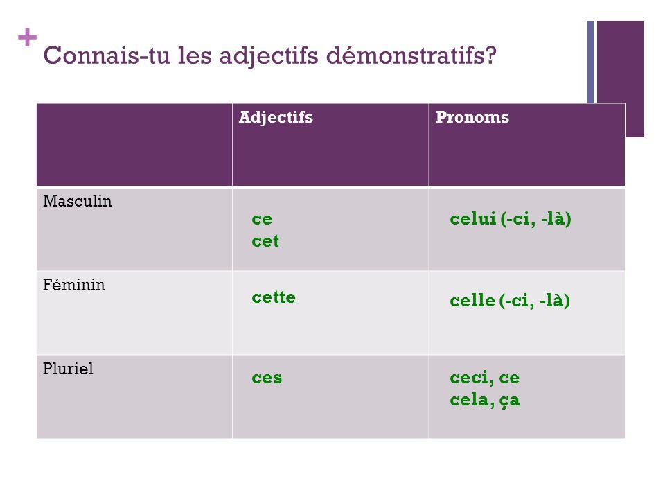 + Pour renforcer les adjectifs démonstratifs...
