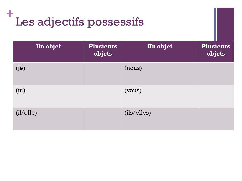 + Les adjectifs possessifs Un objetPlusieurs objets Un objetPlusieurs objets (je)(nous) (tu)(vous) (il/elle)(ils/elles)