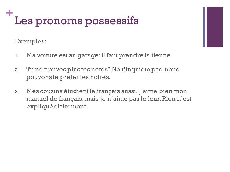 + Les pronoms possessifs Un objetPlusieurs objets Un objetPlusieurs objets (je)(nous) (tu)(vous) (il/elle)(ils/elles)