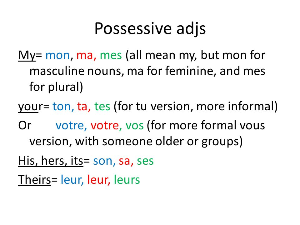 Possessive adjs My= mon, ma, mes (all mean my, but mon for masculine nouns, ma for feminine, and mes for plural) your= ton, ta, tes (for tu version, m