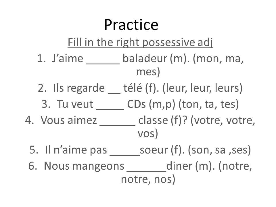 Practice Fill in the right possessive adj 1.Jaime baladeur (m). (mon, ma, mes) 2.Ils regarde télé (f). (leur, leur, leurs) 3.Tu veut CDs (m,p) (ton, t