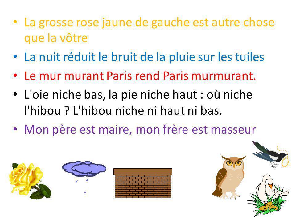 La grosse rose jaune de gauche est autre chose que la vôtre La nuit réduit le bruit de la pluie sur les tuiles Le mur murant Paris rend Paris murmuran