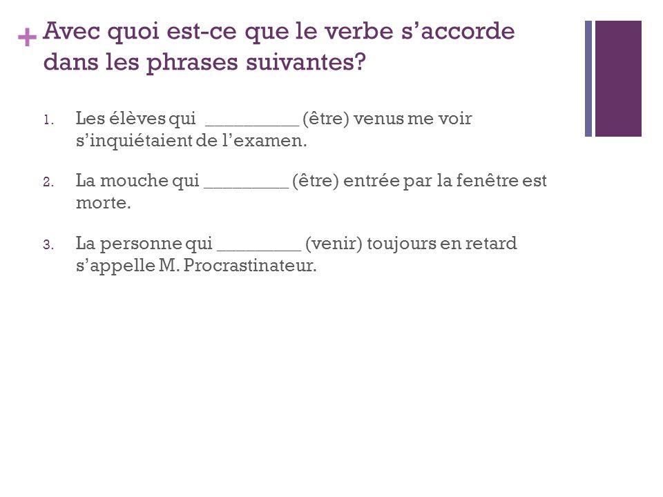 + Avec quoi est-ce que le verbe saccorde dans les phrases suivantes.