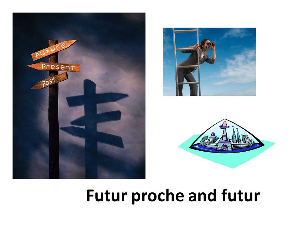 Aller and the futur proche Aller= irregular verb-to go Je vais nous allons Tu va vous allez Il, elle, on va ils, elles, vont Ex.