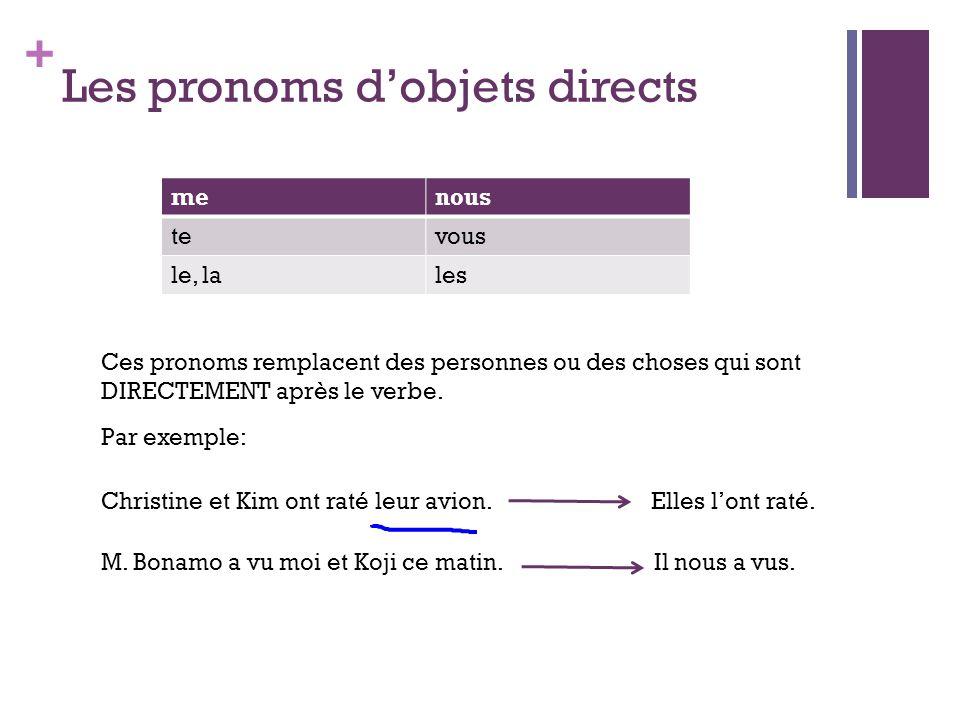 + Les pronoms dobjets directs menous tevous le, lales Ces pronoms remplacent des personnes ou des choses qui sont DIRECTEMENT après le verbe. Par exem