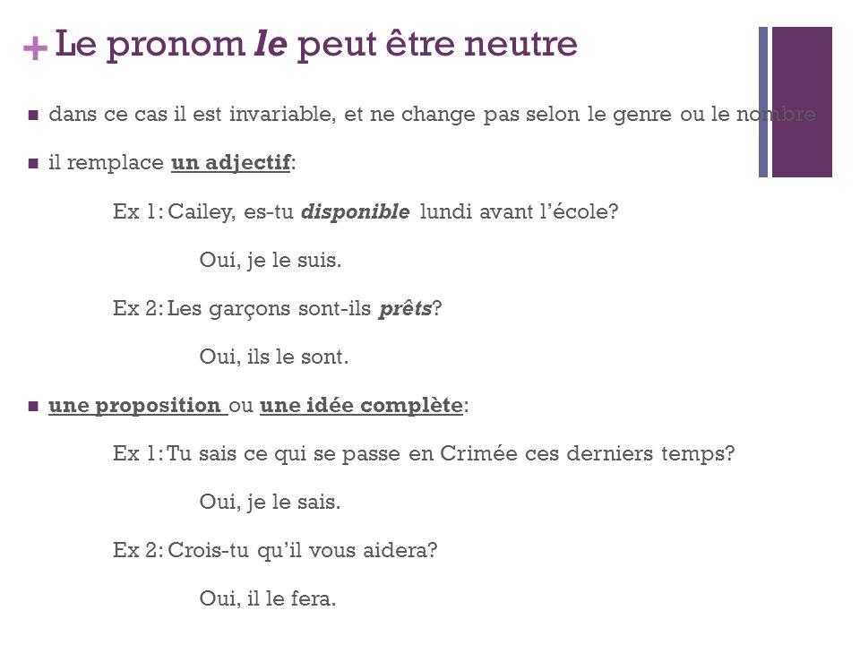 + Le pronom le peut être neutre dans ce cas il est invariable, et ne change pas selon le genre ou le nombre il remplace un adjectif: Ex 1: Cailey, es-