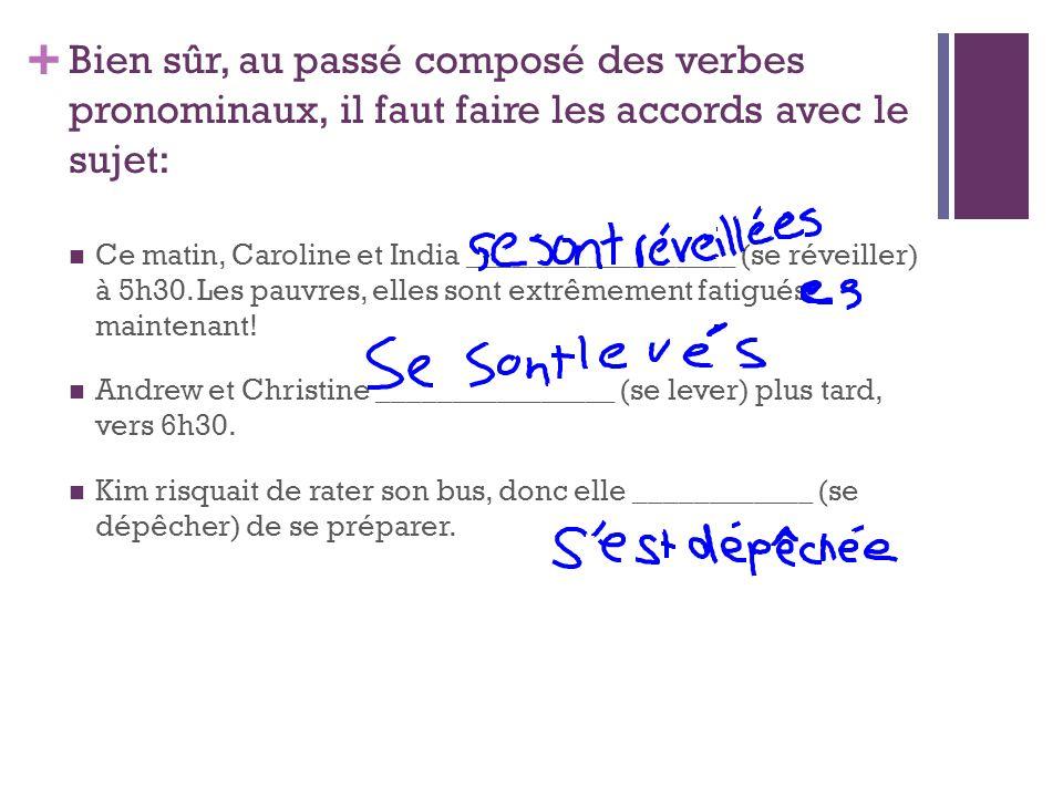 + Bien sûr, au passé composé des verbes pronominaux, il faut faire les accords avec le sujet: Ce matin, Caroline et India __________________ (se révei