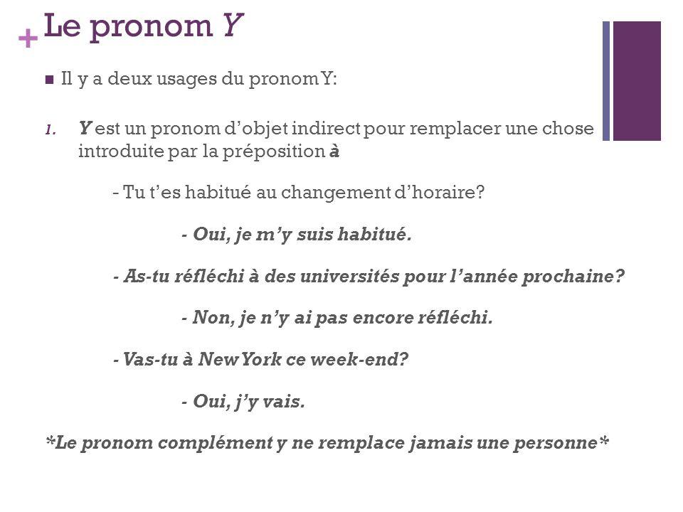 + Le pronom Y Il y a deux usages du pronom Y: 1. Y est un pronom dobjet indirect pour remplacer une chose introduite par la préposition à - Tu tes hab