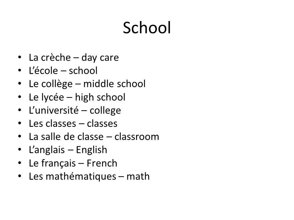 School La crèche – day care Lécole – school Le collège – middle school Le lycée – high school Luniversité – college Les classes – classes La salle de