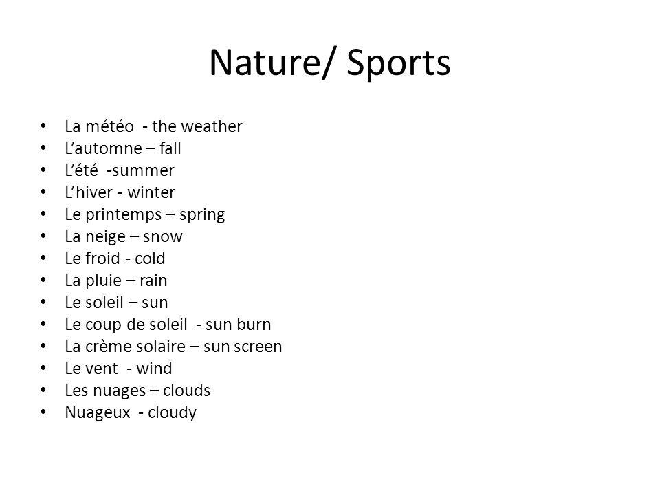 Nature/ Sports La météo - the weather Lautomne – fall Lété -summer Lhiver - winter Le printemps – spring La neige – snow Le froid - cold La pluie – ra