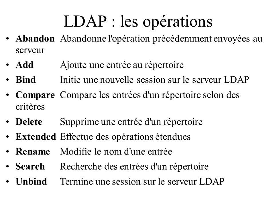 LDAP : les opérations Abandon Abandonne l'opération précédemment envoyées au serveur Add Ajoute une entrée au répertoire Bind Initie une nouvelle sess