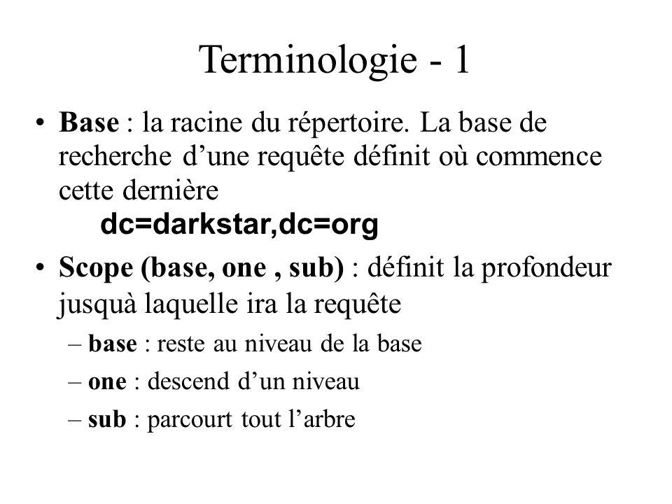 Terminologie - 1 Base : la racine du répertoire. La base de recherche dune requête définit où commence cette dernière dc=darkstar,dc=org Scope (base,