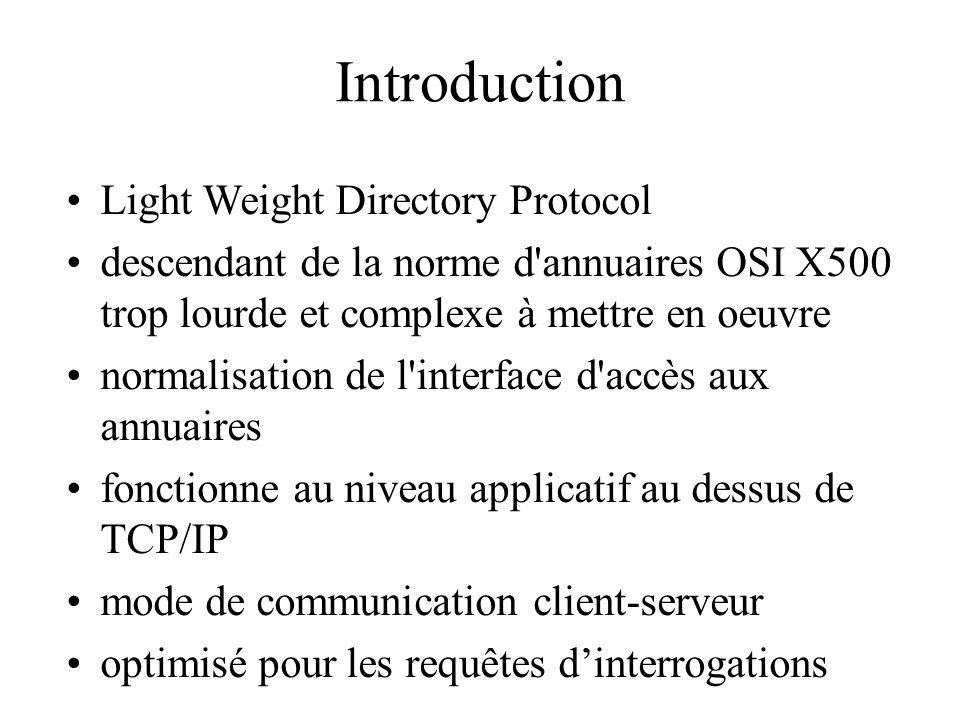 Introduction Light Weight Directory Protocol descendant de la norme d'annuaires OSI X500 trop lourde et complexe à mettre en oeuvre normalisation de l