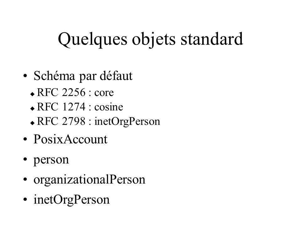 Quelques objets standard Schéma par défaut RFC 2256 : core RFC 1274 : cosine RFC 2798 : inetOrgPerson PosixAccount person organizationalPerson inetOrg