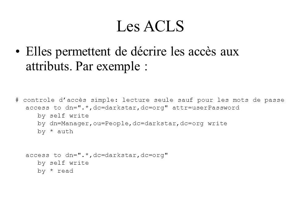 Les ACLS Elles permettent de décrire les accès aux attributs. Par exemple : # controle daccès simple: lecture seule sauf pour les mots de passe access