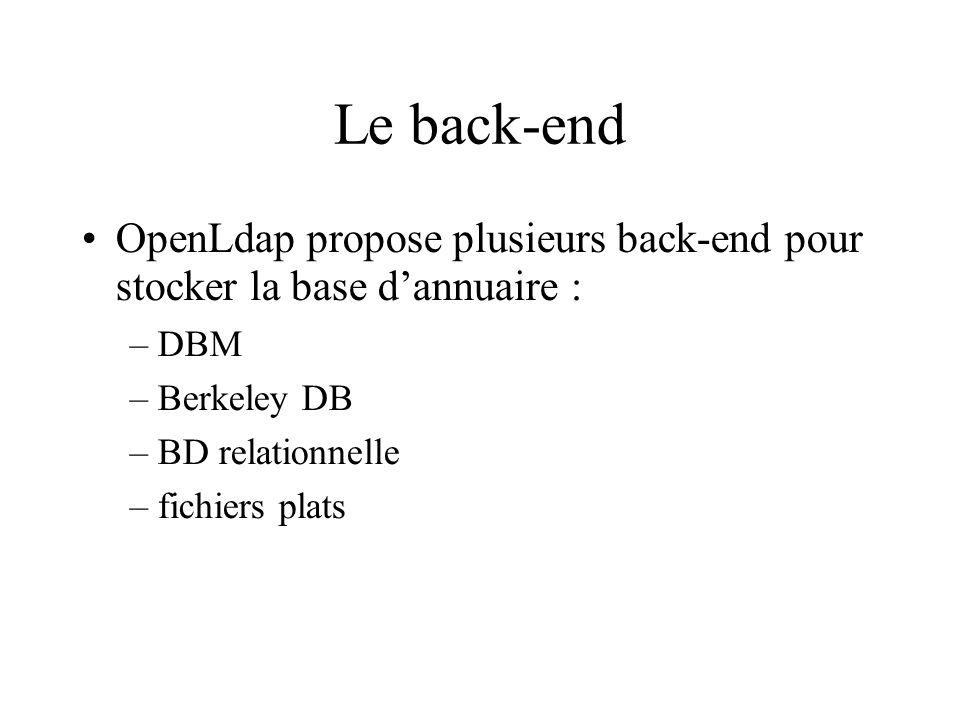Le back-end OpenLdap propose plusieurs back-end pour stocker la base dannuaire : –DBM –Berkeley DB –BD relationnelle –fichiers plats