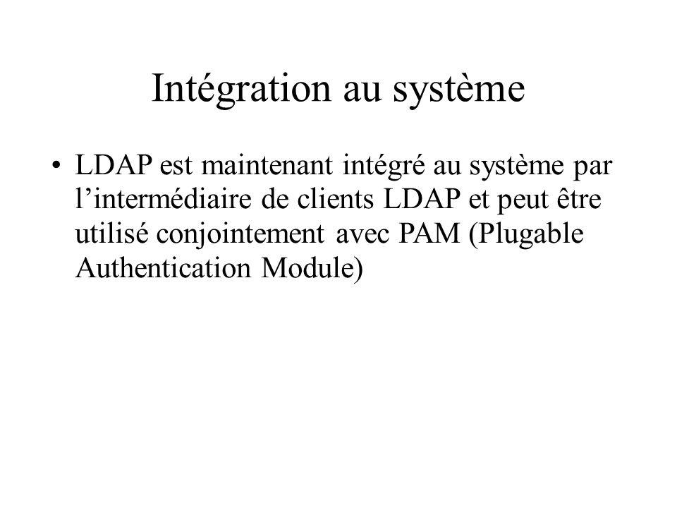 Intégration au système LDAP est maintenant intégré au système par lintermédiaire de clients LDAP et peut être utilisé conjointement avec PAM (Plugable