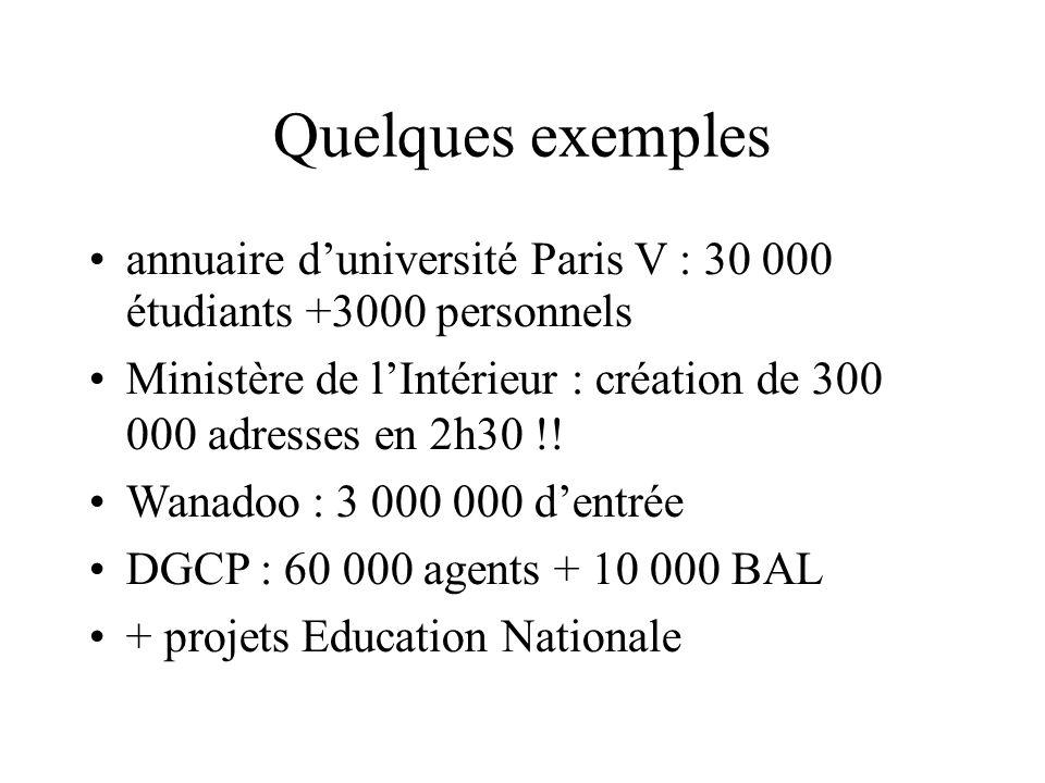 Quelques exemples annuaire duniversité Paris V : 30 000 étudiants +3000 personnels Ministère de lIntérieur : création de 300 000 adresses en 2h30 !! W