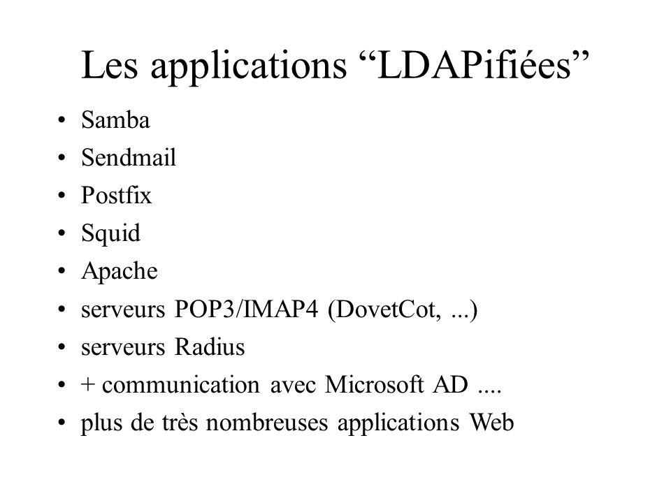 Les applications LDAPifiées Samba Sendmail Postfix Squid Apache serveurs POP3/IMAP4 (DovetCot,...) serveurs Radius + communication avec Microsoft AD..
