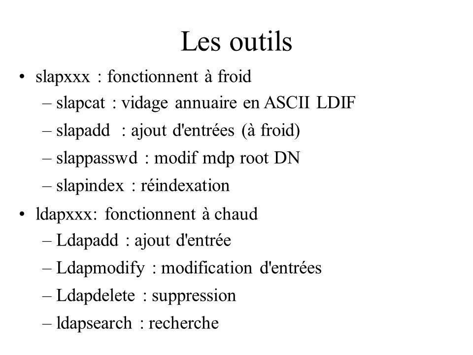 Les outils slapxxx : fonctionnent à froid –slapcat : vidage annuaire en ASCII LDIF –slapadd : ajout d'entrées (à froid) –slappasswd : modif mdp root D