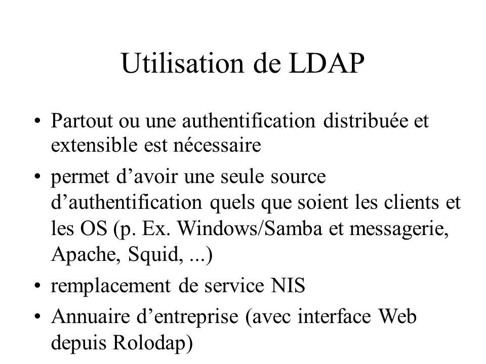 Utilisation de LDAP Partout ou une authentification distribuée et extensible est nécessaire permet davoir une seule source dauthentification quels que