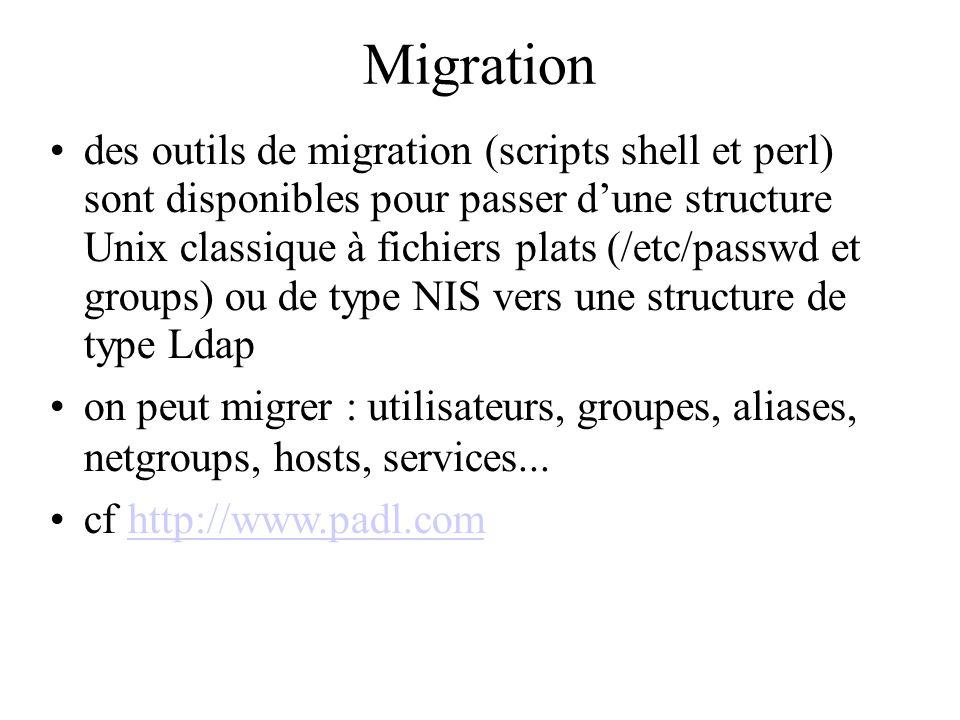 Migration des outils de migration (scripts shell et perl) sont disponibles pour passer dune structure Unix classique à fichiers plats (/etc/passwd et