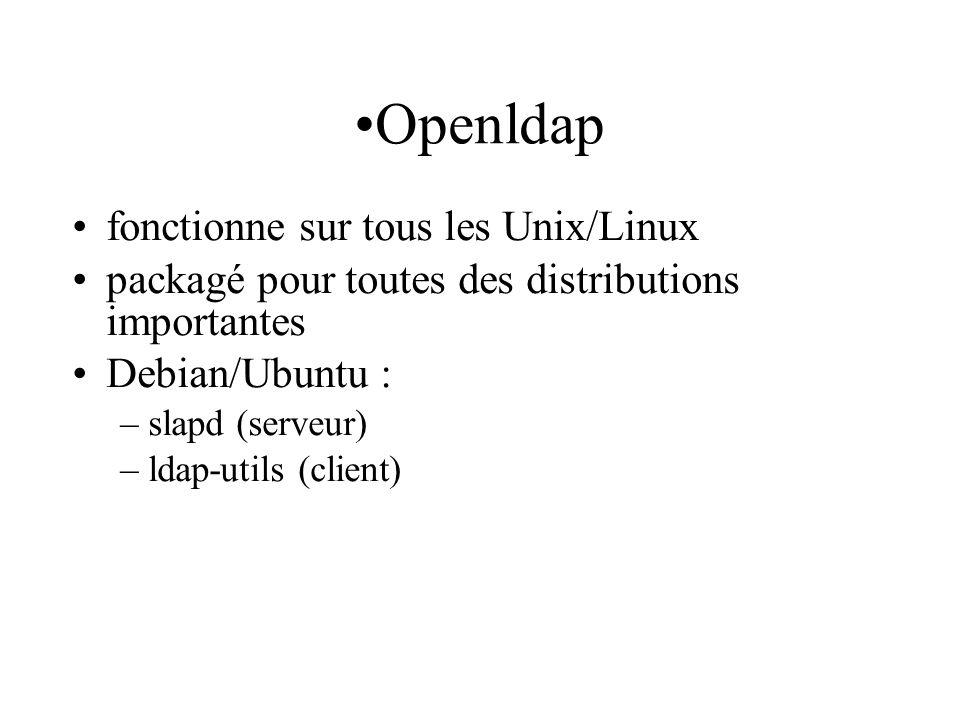 Openldap fonctionne sur tous les Unix/Linux packagé pour toutes des distributions importantes Debian/Ubuntu : –slapd (serveur) –ldap-utils (client)