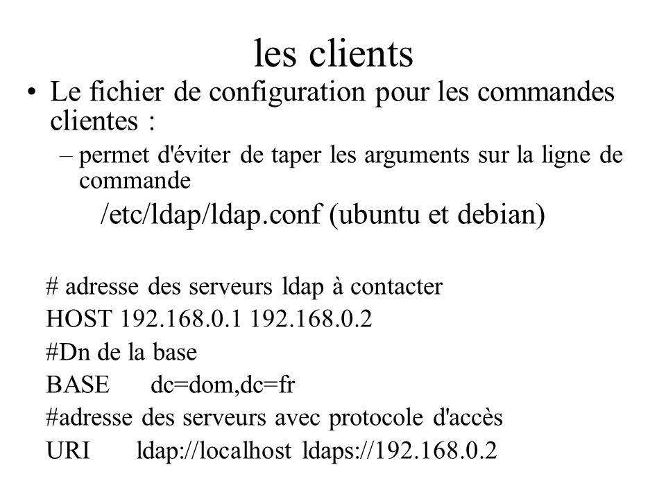 les clients Le fichier de configuration pour les commandes clientes : –permet d'éviter de taper les arguments sur la ligne de commande /etc/ldap/ldap.