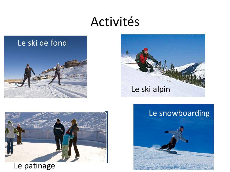 Activités Le ski de fond Le ski alpin Le patinage Le snowboarding