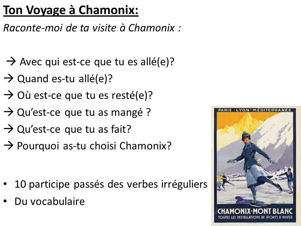 Ton Voyage à Chamonix: Raconte-moi de ta visite à Chamonix : Avec qui est-ce que tu es allé(e)? Quand es-tu allé(e)? Où est-ce que tu es resté(e)? Que