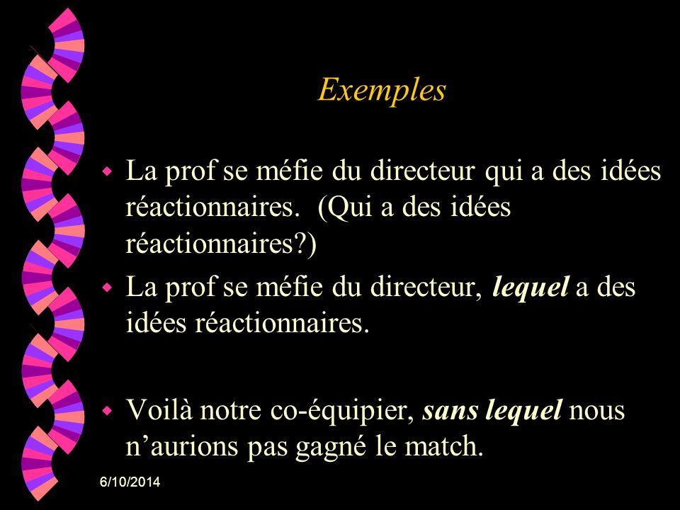 6/10/2014 Exemples w La prof se méfie du directeur qui a des idées réactionnaires. (Qui a des idées réactionnaires?) w La prof se méfie du directeur,