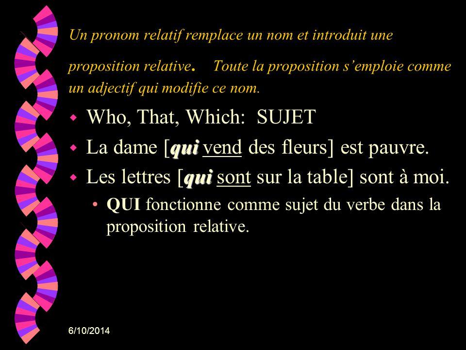 6/10/2014 Un pronom relatif remplace un nom et introduit une proposition relative. Toute la proposition semploie comme un adjectif qui modifie ce nom.