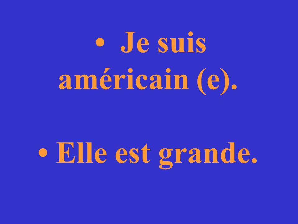 Tu es français (e) ou américain (e)? Elle est grande ou petite?