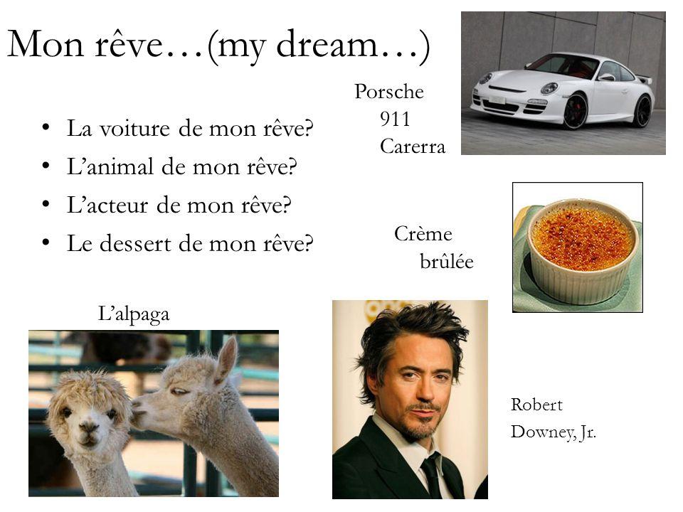 Mon rêve…(my dream…) La voiture de mon rêve? Lanimal de mon rêve? Lacteur de mon rêve? Le dessert de mon rêve? Crème brûlée Lalpaga Robert Downey, Jr.