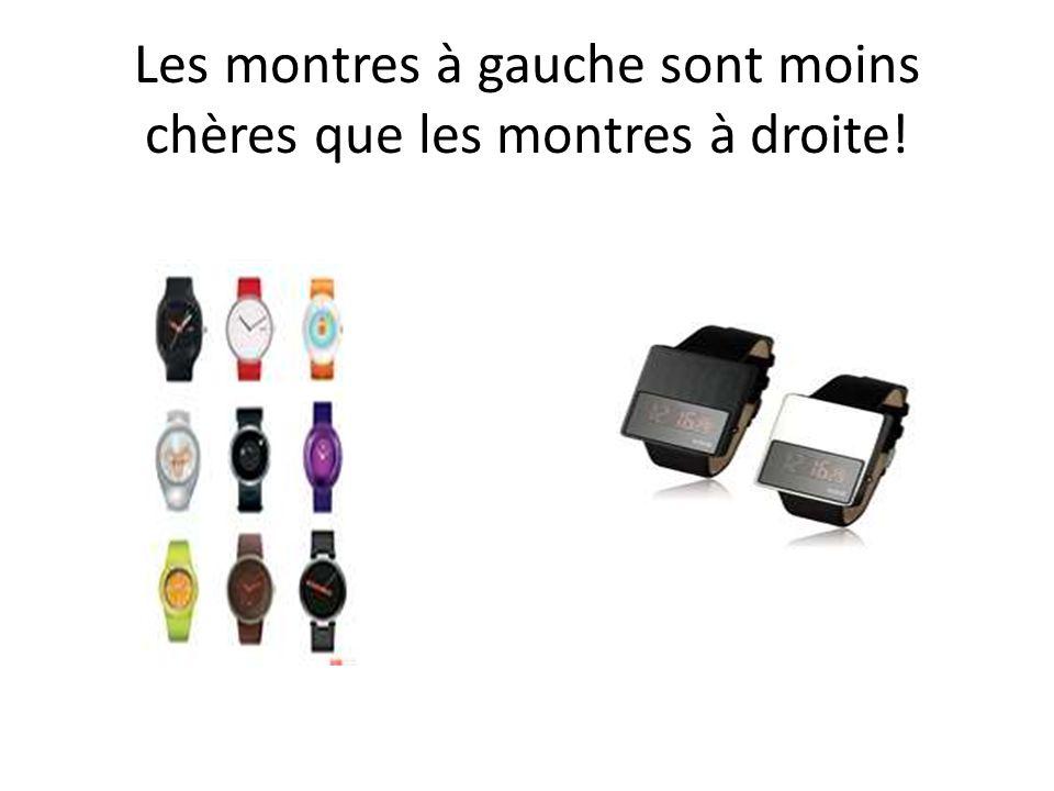 Les montres à gauche sont moins chères que les montres à droite!