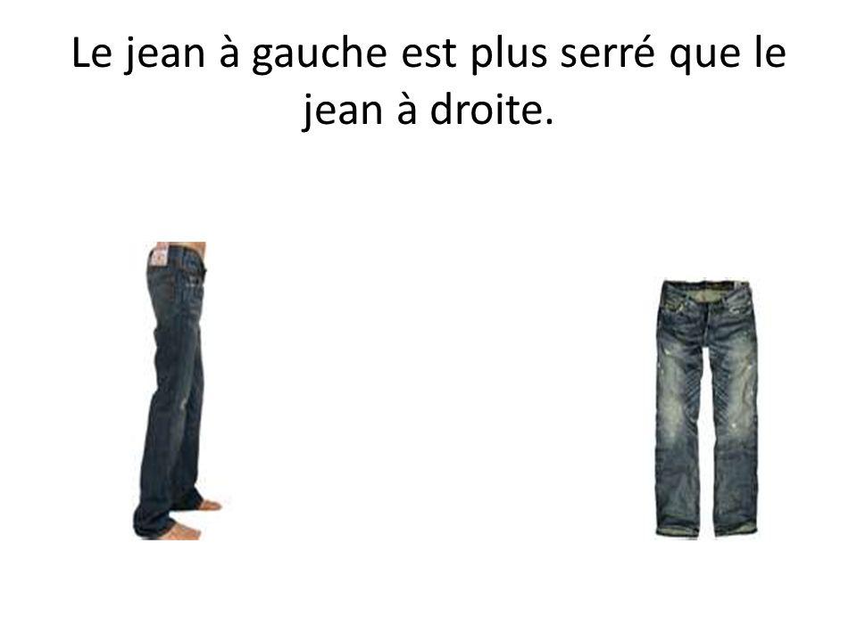 Le jean à gauche est plus serré que le jean à droite.